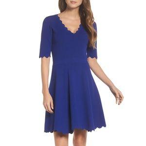 NWT Eliza J Scallop Trim Fit & Flare Mini Dress M